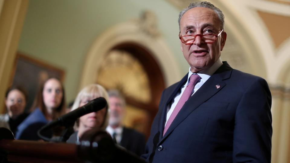 Chuck Schumer speaks into the microphone.